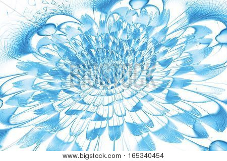 Abstract Exotic Flower With Textured Petals On White Background. Fantasy Fractal Design In Bright Bl