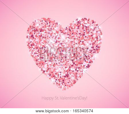 Pink glitter sequins heart on light pink background. Valentine's day wedding romantic vector illustration. Good for holiday poster banner greeting card design.