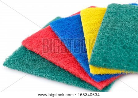 Pan scourers isolated on a white background.