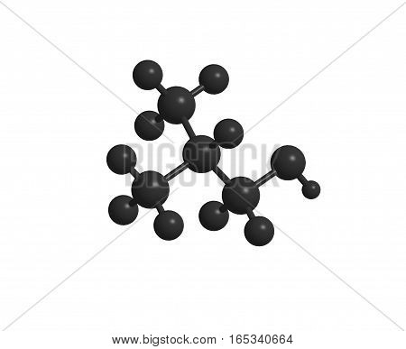 Isolated black abstract molecular structure 3D rendering
