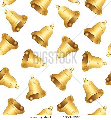 Golden Jingle Bells Background Pattern on White. Symbol Of The Winter Holidays Vector illustration