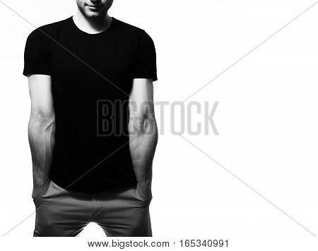 The Guy In The Black T-shirt, Blank, Smiling On A White Background, Mock Up