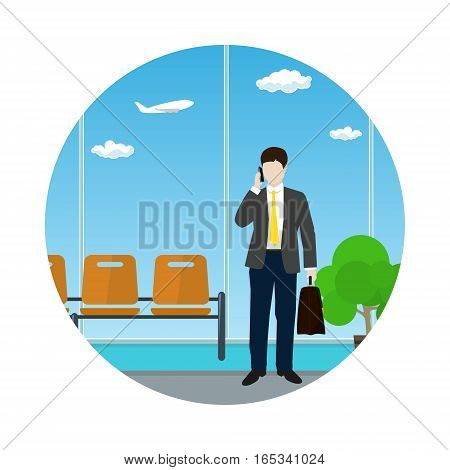 Icon a Man with a Briefcase Talking on the Phone in a Waiting Room, Businessman in Flight Waiting Hall ,Travel and Tourism Concep,t Flat Design, Vector Illustration
