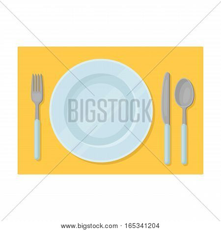 Served table icon in cartoon design isolated on white background. Rest and travel symbol stock vector illustration.