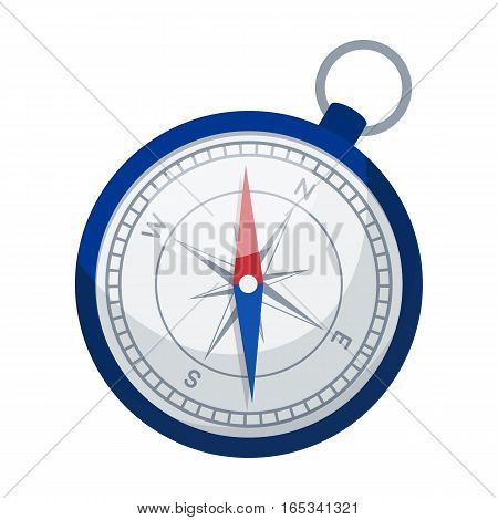 Compass icon in cartoon design isolated on white background. Rest and travel symbol stock vector illustration.