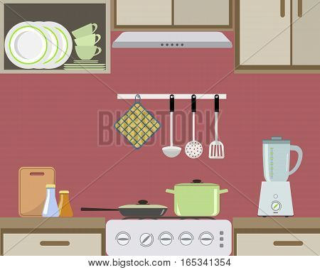 Fragment of an interior of kitchen in red color. There is a green pan and a frying pan on the stove, also blender and other objects in the picture. Vector flat illustration