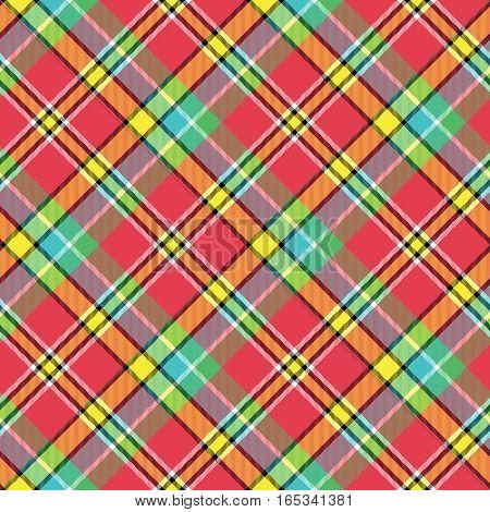 Madras bright color tartan seamless fabric texture. Vector illustration.