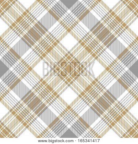 Platinum gold tartan diagonal seamless pattern. Vector illustration.