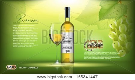 Vector Realistic Wine Bottle Mock up. White vine grapes. Green natural detailed background with place for your branding. 3d illustration for future design or Advertise of your product