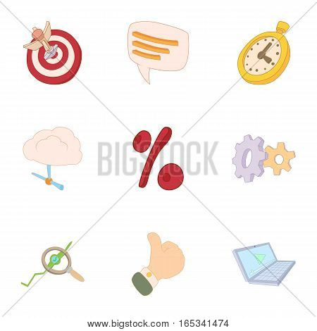 Internet data icons set. Cartoon illustration of 9 internet data vector icons for web