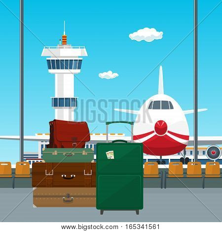 View on Airplane and Control Tower through the Window from a Waiting Room with Retro Colored Suitcases and Trolley Suitcase and Travel Bag , Luggage Bags for Traveling , Travel and Tourism Concept