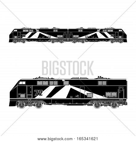 Locomotive Silhouette , Rail Transport Vehicle, Train, Rail Transportation Vector Illustration