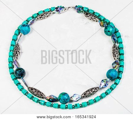 Round Necklace From Chrysocolla And Turquoise
