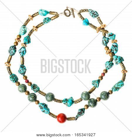 Necklace From Serpentine And Howlite Natural Gems