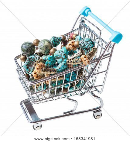 Shopping Trolley With Necklace From Gem Stone