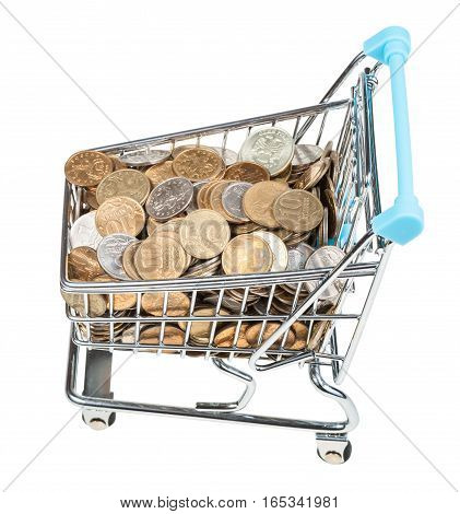 Shopping Cart With Russian Coins Isolated