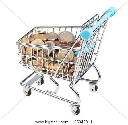 Shopping Trolley With Euro Coins Isolated