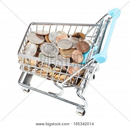 Shopping Carriage With Us Coins Isolated