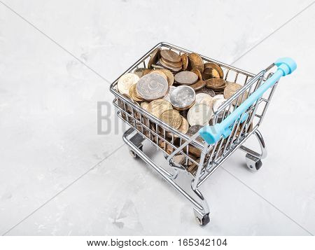 Trolley With Russian Coins On Concrete Plate