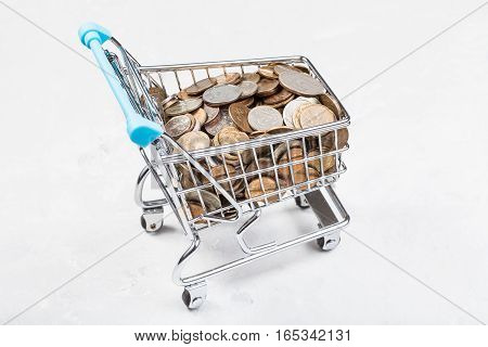 Trolley With Russian Coins On Concrete Board
