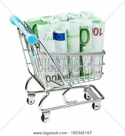 Supermarket Trolley With Euro Banknotes Isolated