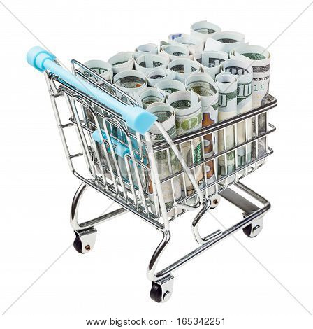 Bascart With Rolls From Dollar Banknotes Isolated