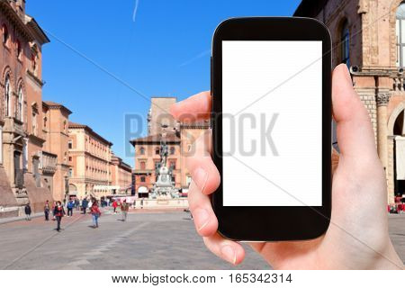 Tourist Photographs Square In Bologna City
