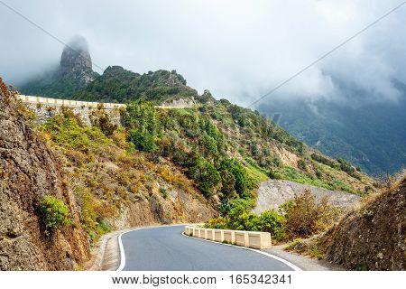 Winding And Narrow Road In Anaga Mountains, Tenerife, Spain, Europe