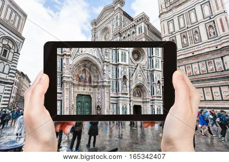 Tourist Photographs Facade Of Duomo In Florence