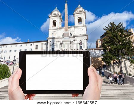 Tourist Photographs Spanish Steps In Rome City