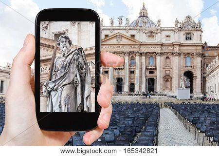 Tourist Photographs Apostle Paul Statue In Vatican