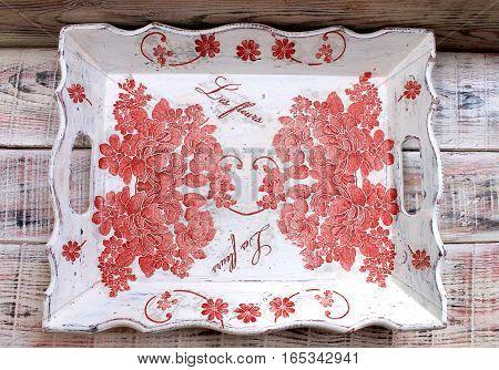 Beautiful decorative tray handmade with decoupage style