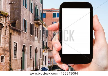 Tourist Photographs Houses In Venice City