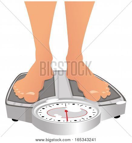 An image of some human feet on weighing scales.