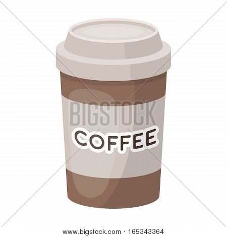Disposable coffee cup icon in cartoon design isolated on white background. Hipster style symbol stock vector illustration.