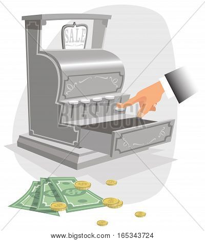 An illustration of an old fashioned cash register and hand.