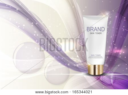 Skin Toner Bottle Template for Ads or Magazine Background. 3D Realistic Vector Iillustration. EPS10