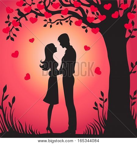 Illustration black silhouette of lovers embracing on a white background Couple in love Illustration of man and woman lovers