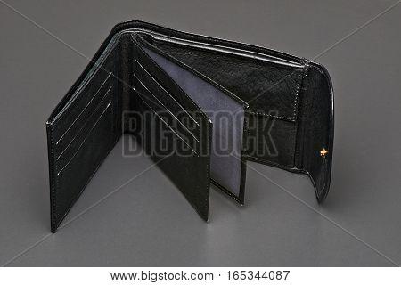 Open Black Leather Wallet