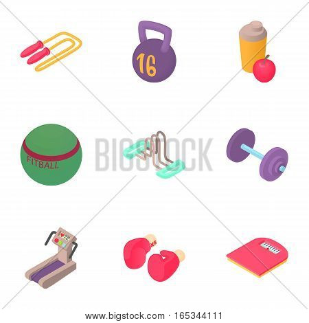 Active fitness icons set. Cartoon illustration of 9 active fitness vector icons for web