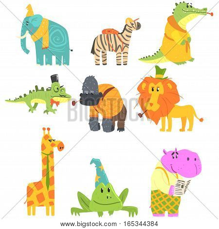 African Animals With Human Attributes And Clothing Set Of Comic Cartoon Characters. Jungle Wild Fauna With Old-School Accessories Vector Colorful Illustrations