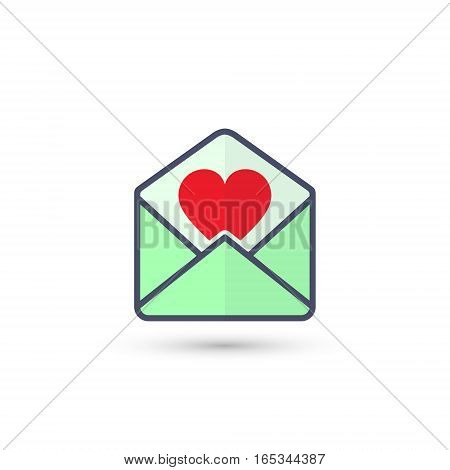 Envelope with Valentine heart vector isolated color icon.