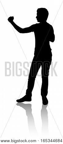 Silhouette of a man who defended or preparing for a fight. Black color.