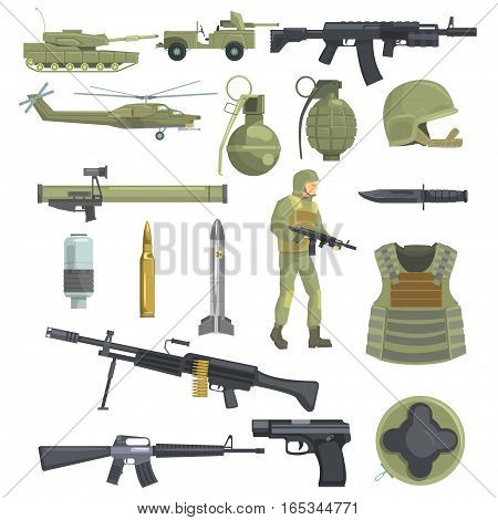 Professional Army Infantry Forces Weapons, Transportation And Soldier Equipment Set Of Realistic Objects In Khaki Color. Military Ammunition, Armor, Guns And Other Inventory For Modern Assault.