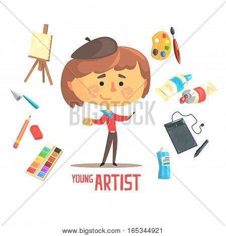 Boy Artist Painter, Kids Future Dream Professional Occupation Illustration With Related To Profession Objects. Smiling Child Carton Character With Career Attributes Around Cute Vector Drawing.