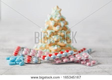 Pile Of Pills Under Christmas Tree