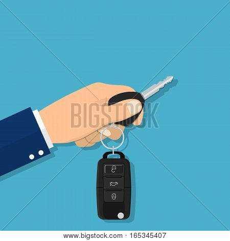 Hand holding Car Key and of the alarm system. Vector illustration in flat style