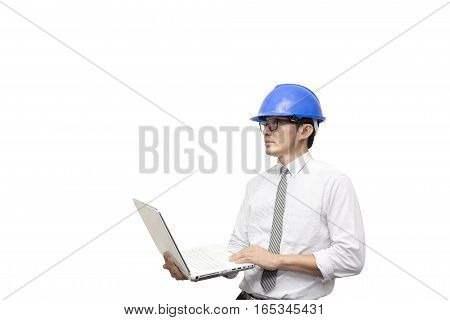 The isolate scene of engineer hold the laptop by the hand with the white backgroundThe isolate scene of engineer hold the laptop by the hand with the white background
