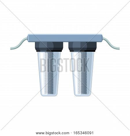 Water filters icon in cartoon design isolated on white background. Water filtration system symbol stock vector illustration.