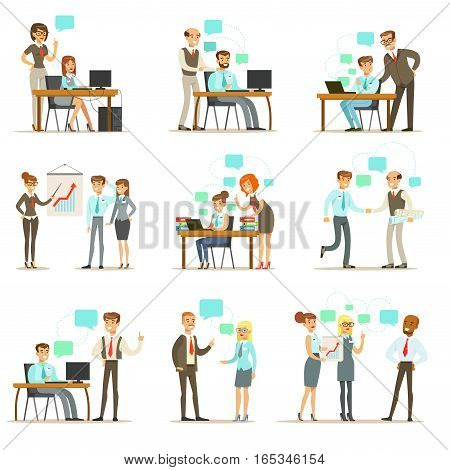 Big Boss Managing And Supervising The Work Of Office Employees Set Of Top Manager And Workers Illustrations. Smiling Cartoon Characters Doing The Office Job Under Control Of Chief Executive.